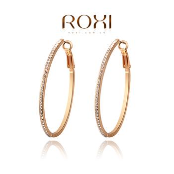 Roxi изящные женские классические cерьги-кольца изготовлены из красного золота с трех разовым золотым напылением, украшены австрийскими кристаллами, отличный подарок девушке, ручная работа, высокое качество