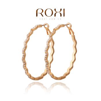 Roxi изящные женские cерьги-кольца ручной работы с необычной гравировкой изготовлены из красного золота (позолота) украшены австрийскими кристаллами, трех разовое золотое напыление