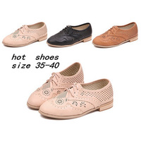 2014 Fashion Round toe Flat Heel Cutout Single Shoes Oxfords For Women Summer Lace Up Loafers Sneakers Canvas Shoes