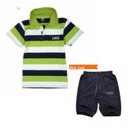 summer high quality 100%cotton casual polo boy set clothes,boy striped T-shirt +child blue shorts Sports suit Children clothes