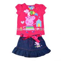 2014 Hot sale New Kids Suit, Baby girl 2pcs peppa pig set with T-shirt + denim skirt, Children wear suit, 4sets/lot-WYX-BB-19