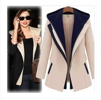 Fashion Street Jackets Women 2015 Spring Slim Faux Two Piece With A Hood Outerwear Patchwork Casual Female Coats Women