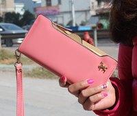 Free Shipping Metal Horse Pure Color Checkbook Change Coin Phone Bag Women Purse Handbag Ladies Wallet