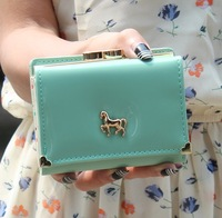 Free Shipping Love Heart Metal Horse Checkbook Change Coin Phone Bag Women Purse Handbag Ladies Wallet