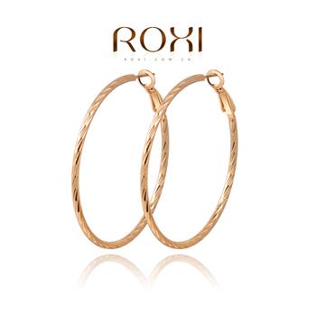 Roxi элегантные женские cерьги-кольца с гравировкой изготовлены из красного золота , трех разовое золотое напыление, 100% ручная работа, качество, длина 5см