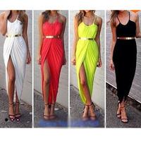 New 2014 Summer Women Bandage Halter Chiffon Dress Sleeveless Beach Vestidos Party Cocktail Nightclub Club Bar Clubwear Dresses