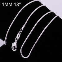 Wholesale Fashion 925 Sterling Silver Necklace Snake Link Chain Jewelry Necklace Chains 1mm C008