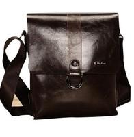 Vintage Famous Brand Designer PU Leather Men Bags Casual Shoulder Bags Double Layer Portable Brown Men Messenger Bags handbag
