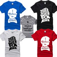 2014 famous tv play Sherlock T Shirt cotton i believe in sherlock holmes t-shirt man top tee casual man short sleeve plus size