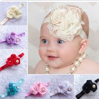 8pcs/lot hari accessories Triple soft chiffon pearl rhinestone flowers rosette lace mesh Baby girls Headbands children accessory