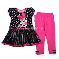 Wholesale NEW Girls Summer Suit, Baby girl 2pcs Mini Mouse set with dress and pants, Children wear suit, 4sets/lot-WYX-1-7955