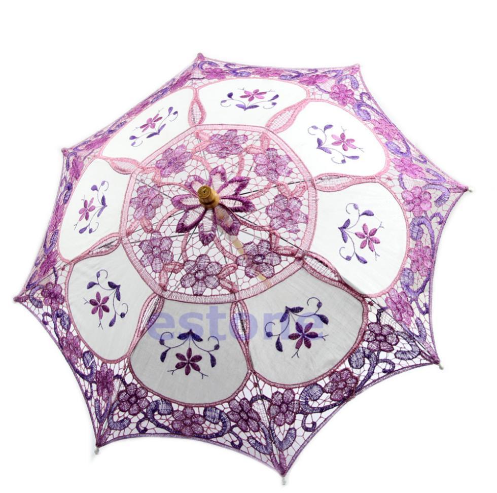Nova Chegada roxo laço nupcial bordado Parasol Umbrella Para Festa de Casamento Decoração(China (Mainland))