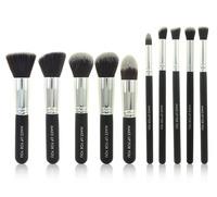 2014 professional 10pcs silver Synthetic Kabuki Makeup Brush Set Cosmetics Foundation blending blush makeup Tools free shipping