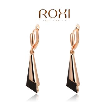 Roxi брендовые элегантные удлиненные женские cерьги ручной работы, изготовлены из красного золота (позолота) трех разовое золотое напыление, классический стиль