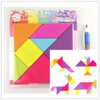 Children Mental Development Tangram Wooden Jigsaw Puzzle Educational Toys for Kids Free Shipping