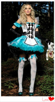 2014 New Free shipping Blue Uniform Fantasy Dress Alice costumes Snow White cosplay  sexy Halloween Costume XY12117