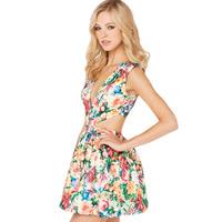 2014 free shipping Colorful print flower blossoms deep V-neck back zipper one-piece dress print cute dress  6 sizes