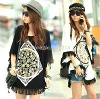 2014 New summer casual big plus size vintage printed women dress cotton tassel woman tunic clothes white,black M~XXL,3XL,4XL,5XL