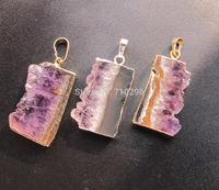 New Arrived Natural Amethyst Druzy Slice Pendant 5pcs/lot Gem Amethyst Quartz Pendant fit Slice necklace