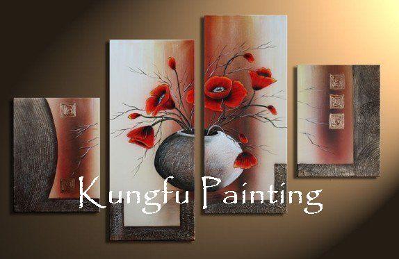 com4-3021 100% pintadas à mão boa qualidade melhor tela de pintura abstrata 4 painel parede pintura acrílica grupo paisagem(China (Mainland))