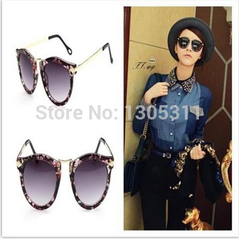 2014 New Women Retro Floral Vintage Wayfarer Trendy Arrow Round Lens Sunglasses One Pcs free shippin(China (Mainland))