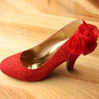Wedding shoes 2014 festive bride dress shoes noble rose high-heeled single shoes