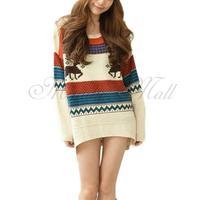 Women Long Pullover Jumper Knitwear Sweater Top Outerwear Round Neck L