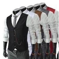 Men Fashion Slim Waistcoat Vest Casual Business Waistcoat Vest Tops 5 Colors
