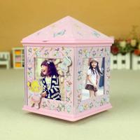 Photo frame music jewelry box rotating music box storage box for girls birthday gift home decoration