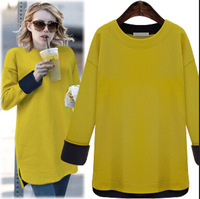 Lanluu High Quality 2014 Autum and Winter Casual O-neck Sweatershirts Plus Size Women Sweater Tops SQ386
