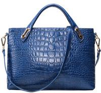 Genuine leather cowhide 2015 women's fashion handbag one shoulder crocodile pattern women's cross-body bags navy blue yellow