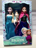 Stock!!EMS free 10set=20pcs/lot Frozen Girls Dolls 11 inches Queen Elsa Princess Anna Platic Doll cartoon dolls With Box