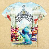 kids t-shirt short boy's t shirt cartoon monster school children 2014 boys clothes for summer brand nova roupa infantil C5232Y