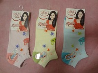 China Famous Brand LangSha Women's All Matching Comfortable Casual Leaf Rabbit Printed Cotton Ankle Socks Color Sent By Random