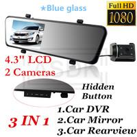 1920*1080P FULLHD Rearview mirror Car cam DVR,Blue glass Allwinner Car record, 2cameras, 4.3 lcd+G-Sensor+Motion Detection