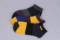 China Famous Brand LangSha Men's Color Block Stripe Cotton Ankle Socks Sent by Random