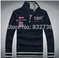 New 2014 Winter & Autumn men's Wool Cotton sweater man's Fashion Casual Army green white dark blue Free shipping