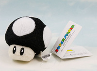 Mario Bros 5CM BLACK Mushroom Plush Figure Doll Toy Game NEW