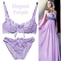 Set deep V-neck transparent gauze sexy plus size embroidery ultra-thin purple white bra underwear 32 34 36 38 40 42 A B C D Cup