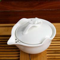 San Cai Wan Drinkware Blanc de chine Porcelain Tea Bowl Dehua White Ceramic Tea Cup with Stainer and Cover 120ML Free Tea Sample