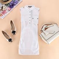Elegant fashion black and white sleeveless chiffon shirt dress low-high sweep one-piece dress