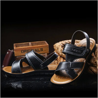 Free shipping hot sale 2014 summer new style genuine leather Men  leather sandals and slippers breathable