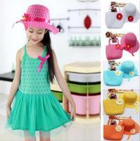 2014 New Arrival 1pcs/lot Lovely Sunflower Kids Girl Beach Sun Straw Hat Cap + Straw Tote Handbag Bag Set Free Shipping EP671487