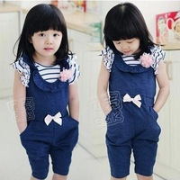 Hot  2014 New arrival Girl children solid casual jumpsuits Kids summer fashion dance overalls Rompers One pieces  C3380