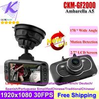 "CAR DVR GF2000 Ambarella A5S50 Original CAR CAMERA With 2.7""LCD 170 Wide Angle Full HD Recorder 1080P 60fps with G-Sensor WDR"