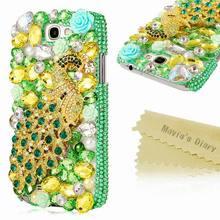 Fashion Bling Green Crystal Peacock back case for Samsung Galaxy Note 2 N7100 Rhinestone Handmade Cover 1pcs/lot free shipping(China (Mainland))