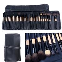 Professional 32 PCS Makeup Brush Set Cosmetic Brush Pencil Lip Liner Make Up Kit Holder Bag Black