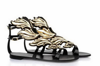 Sexy Ladies Summer Gold Mental Wings Black GZ Women Sandal Flat Shoes Women Sandals 2014 Genuine Leather Sandals Wedding Shoes