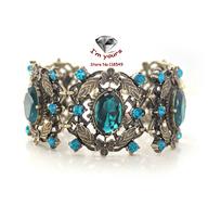 SZ823 Foreign trade jewelry brand texture retro flower blue glow bracelets