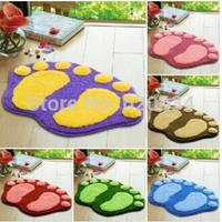 1pcs New Arrival Cute Feet Flocking Absorbent Non Slip Mat Carpet Bath mat In A Door Free Shipping JJ009